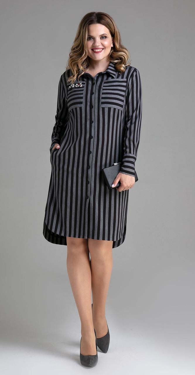 Платье Panda-449280 белорусский трикотаж, серо-черный, 44