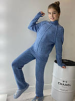 Теплый вязаный кашемировый костюм для девочки 116-158 р