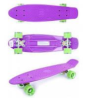 Детский скейтборд GO Travel (фиолетовый - зеленые прозрачные колеса)