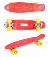 Детский скейтборд GO Travel (красный - желто-горячие колеса)