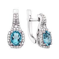Серебряные серьги с кварцем под голубой топаз и фианитами 000136265 000136265
