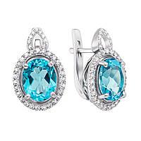 Серебряные серьги с кварцем под голубой топаз и фианитами 000136146 000136146