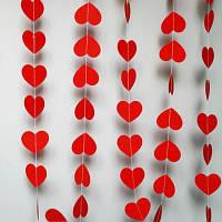 Бумажная Гирлянда-нить Сердце (красная)