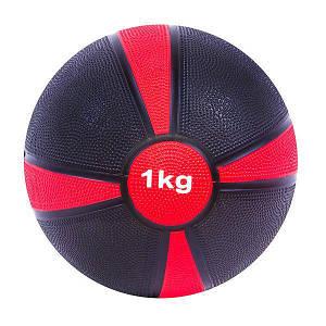 Мяч медицинский медбол 1кг красный цвет диаметр 19 см для фитнеса мяч