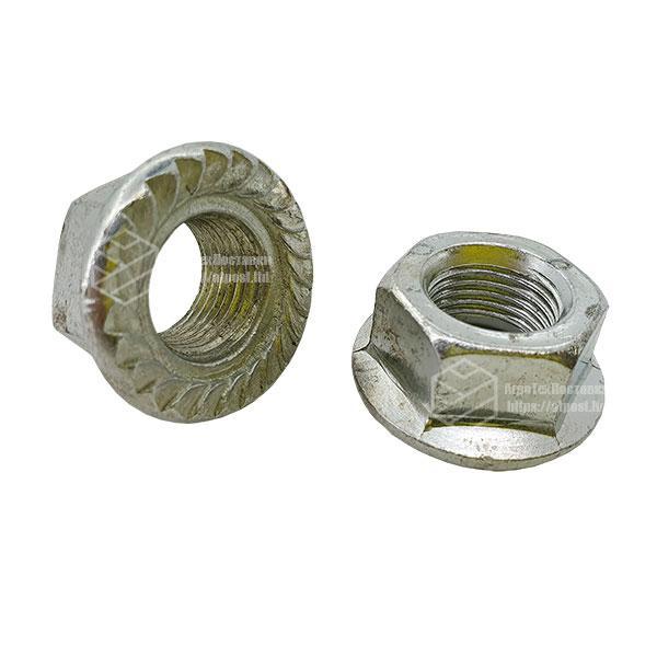 Гайка М 14 х 1,5 (с пресс шайбой зубчатая) (ГОСТ Р 50592-93) (DIN 6923)