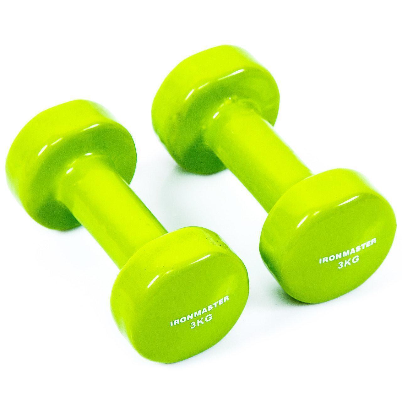 Гантели по 4 кг IronMaster виниловые разные цвета