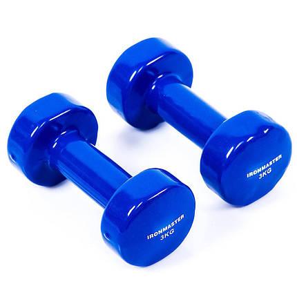 Гантели по 4 кг IronMaster виниловые разные цвета, фото 2