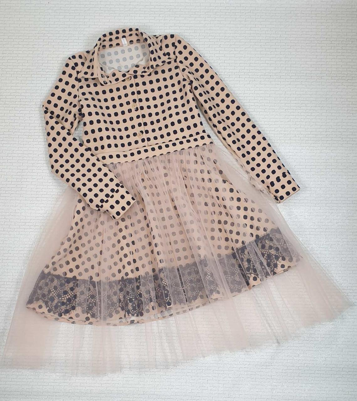 Платье для девочки рубашечного типа в горох р. 116-128 опт