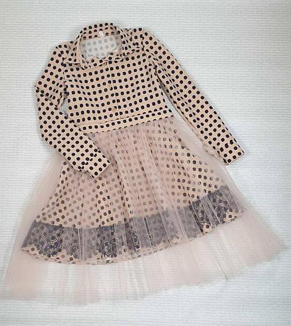 Платье для девочки рубашечного типа в горох р. 116-128 опт, фото 2