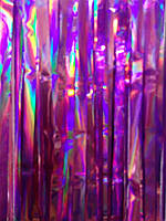 Гирлянда вертикальная дождик (шторка-занавес) для декора интерьера, фотозон, сиреневая металлик. 2х1 м