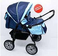 Коляска для детей Viki темно-синий с голубым - 228196