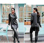 Стильный костюм-двойка с брюками и длинной кофтой №773-графит, фото 4