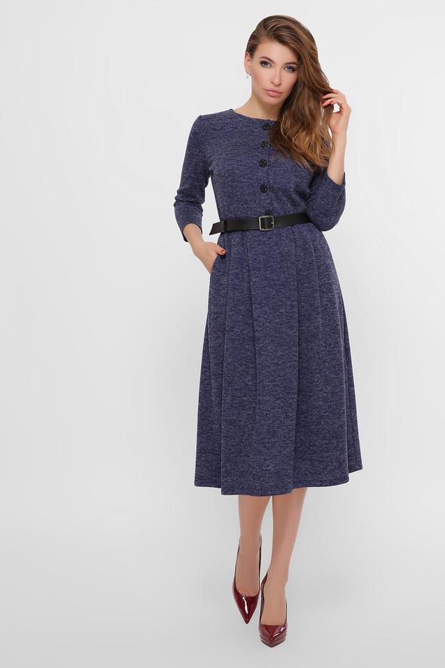 Повседневное синее платье женское
