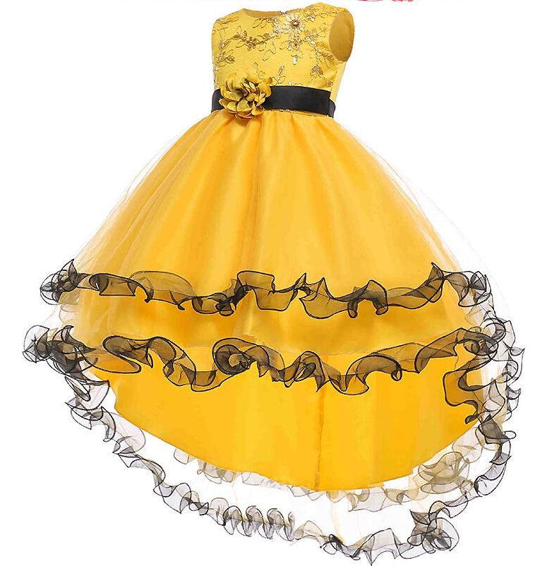 Платье детское жолто-черное бальное выпускное нарядное для девочки в садик или школу.