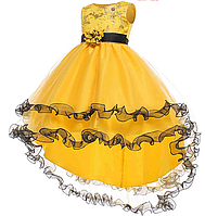 Платье детское жолто-черное бальное выпускное нарядное для девочки в садик или школу., фото 1