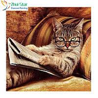 """Алмазная мозаика """"Кот в очках"""", картина стразами 30*30см"""