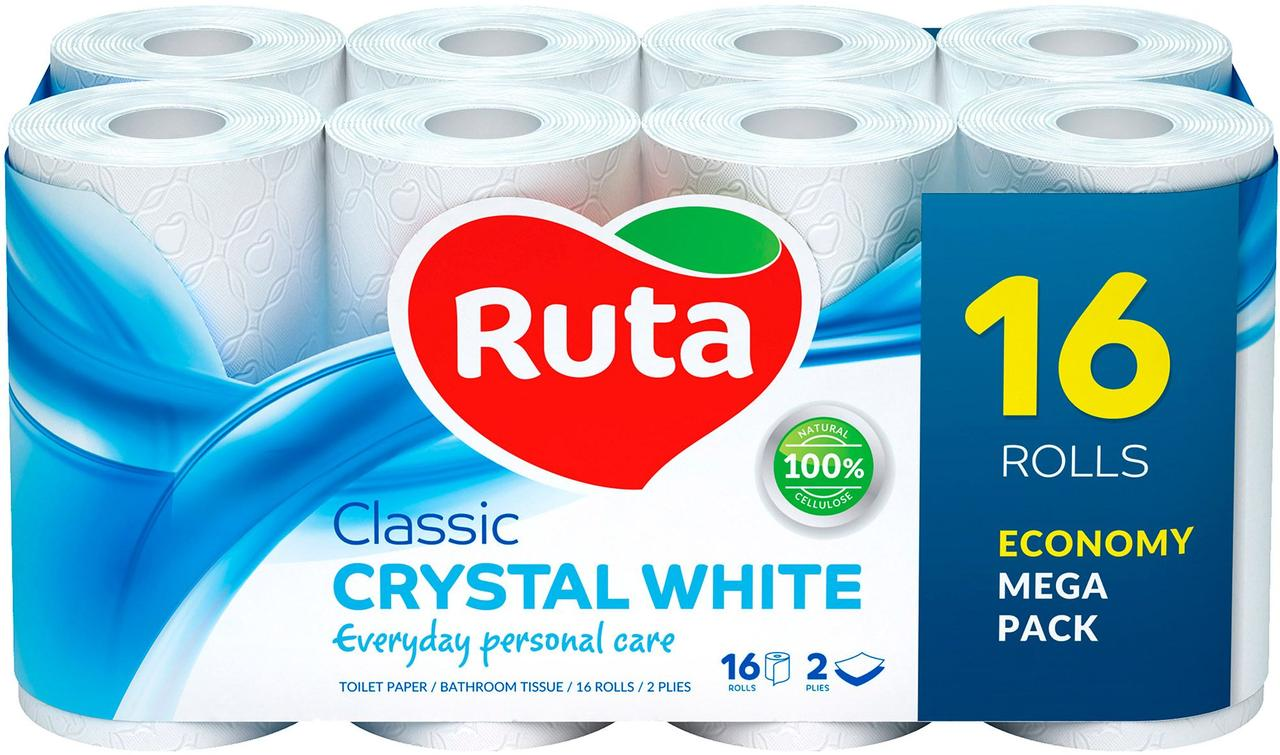 """Папір туалетний""""Ruta"""" Classic білий 2ш.16рул."""