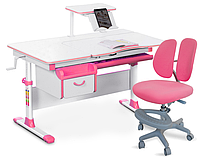 Комплект Evo-kids Evo-40 PN Pink (арт. Evo-40 PN + кресло Y-408 KP)/(стол+ящик+полка+кресло)/ белая столешница
