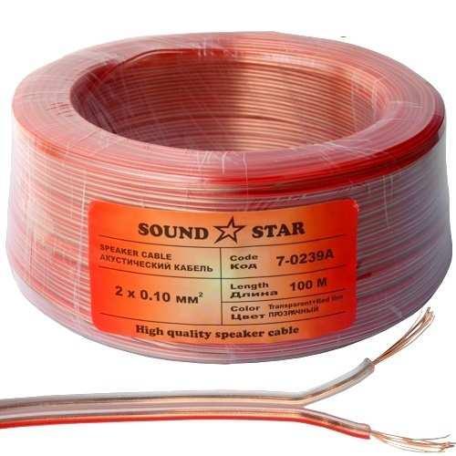 Кабель акустический 2х0,10мм.кв., CCA, прозрачный, 100м