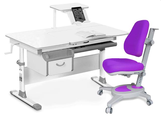 Комплект Evo-kids Evo-40 G Grey (арт. Evo-40 G + кресло Y-110 KS) /(стол+ящик+полка+кресло)/ белая столешница, цвет пластика серый