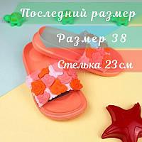 Женские оранжевые шлепки Цветы тм GIOLAN размер 38, фото 1
