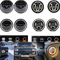 Фары 100ватт.Цена за 2 шт.Фары светодиодные НИВА 2121-21213, ВАЗ 2101-2102, ГАЗ 24, УАЗ 469, Jeep