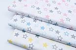 """Лоскут поплина """"Одинаковые звёзды 25 мм"""" серо-жёлтые на белом (№1678), размер 120*28 см., фото 5"""