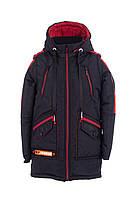 Куртка весенняя для мальчика удлиненная   30-40 черный+красный
