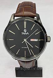 Часы Slava механика ремешок кожаный коричневый/черный