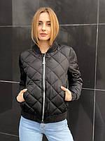 Весенняя осенняя женская черная стеганая куртка бомбер