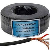 Кабель 2ж в экране круглый SoundStar, диам.-2,8мм, чёрный, 100м.