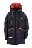 Весенняя куртка-парка для мальчиков  30-40 синий+оранжевый