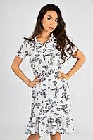 Женское платье-рубашка из штапеля синяя бабочка №3 Lipar Белое