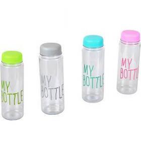 Бутылка для воды пластик цветная 0,5литра 6,5*19,5см