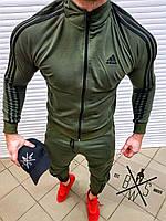 Олимпийка мужская в стиле Adidas хаки / кофта весенняя осенняя, фото 1