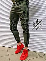 Спортивные штаны мужские Adidas с лампасами весенние осенние   хаки