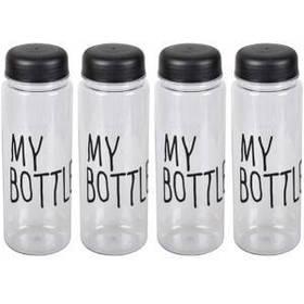 Бутылка для воды пластик черная 0,5л, 6,5*19,5см