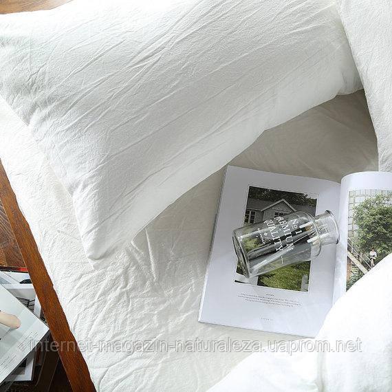 Льняное белое постельное белье евро ТМ Линтекс