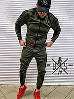 Свитшот мужской Adidas X kahki с лампасами / ЛЮКС