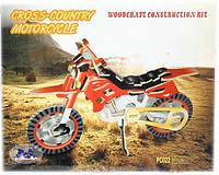 Цветная деревянная 3Д модель мотоцикла (3 пластины)