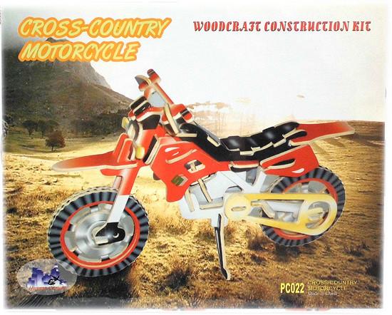 Цветная сборная деревянная 3Д модель мотоцикла