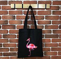 Женская сумка-шоппер тканевая фламинго(черный, белый, розовый)
