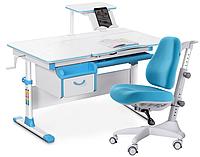 Комплект Evo-kids Evo-40 BL Blue (арт. Evo-40 BL + кресло Y-528 KBL) /(стол+ящик+полка+кресло)/ белая столешни
