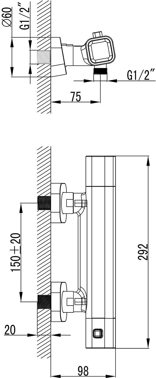 Термостатичний душовий настінний змішувач 10°