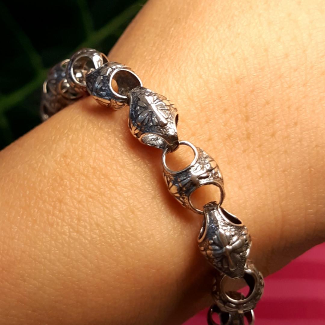 Серебряный браслет Мальтийские кресты - Мужской серебряный браслет