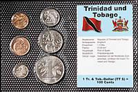 Набор монет Тринидад и Тобаго (1-50 центов, 1 доллар) 1979-1997 гг. (6 шт)