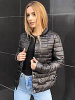 Весенняя осенняя женская черная стеганая куртка