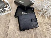 Кожаный мужской кошелек BOSS двойного сложения классический черный