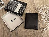 Кожаный мужской кошелек Armani классический черный
