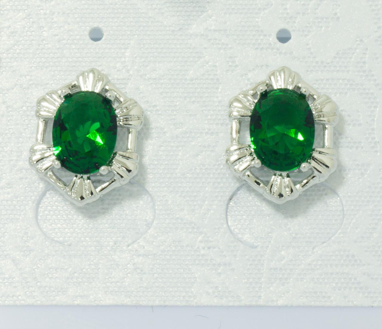 Сережки цвяшки родовані, Овал з зеленим цирконієм, Xuping
